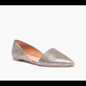 madewell pointy-toe cutaway flats in metallic